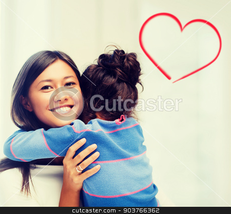 hugging mother and daughter stock photo, family, children and happy people concept - hugging mother and daughter by Syda Productions