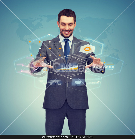 businessman working with virtual screen stock photo, business, technology, communication concept - smiling businessman working with virtual screen by Syda Productions