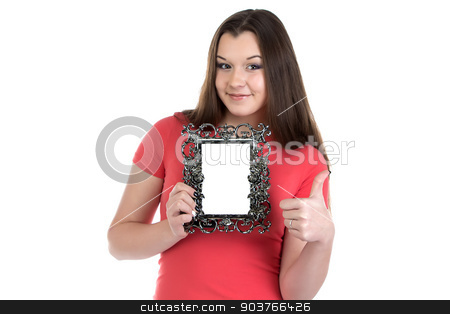 Image of smiling teenage girl with photo frame stock photo, Image of smiling teenage girl with photo frame on white background by Chris Tefme