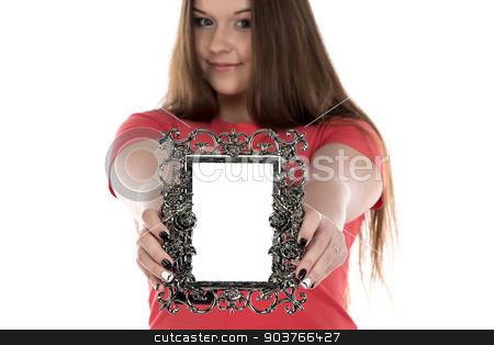Photo of teenage girl showing photo frame stock photo, Photo of teenage girl showing photo frame on white background by Chris Tefme