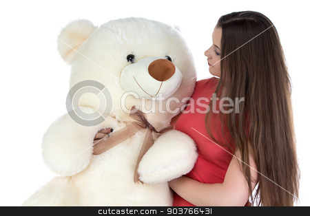 Photo of girl looking at teddy bear stock photo, Photo of girl looking at teddy bear on white background by Chris Tefme