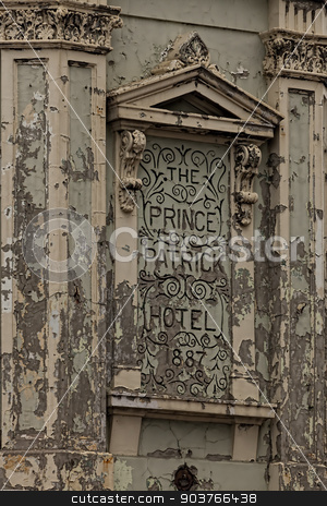Hotel Sign stock photo, Paint Peeling Hotel Sign from the Prince Patrick Hotel. by Ron Kidd