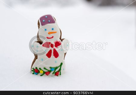 Snowman cookies stock photo, delicious fun snowman cookies cobbled together out of the snow by Pavel Starikov