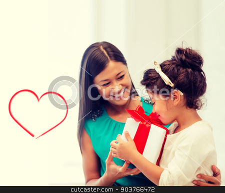 happy mother and child girl with gift box stock photo, holidays, presents, christmas, x-mas, birthday concept - happy mother and child girl with gift box by Syda Productions