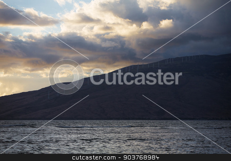 Windmills on Kahaewa stock photo, WIndmills on beautiful island in Hawaii next to ocean by Scott Griessel