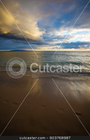 Footprints in Sand at Sunset stock photo, Footprints in sand during sunrise on Maui in Hawaii by Scott Griessel