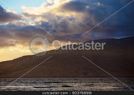 Shoreline of Kaheawa Wind Farm stock photo, Kahaewa Hawaii Wind Farm on shore of the Ocean by Scott Griessel