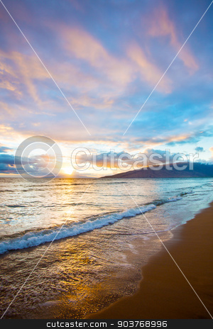 Kihei Sunset on Beach stock photo, Hawaiian Sunset at Kihei Beach on Maui by Scott Griessel