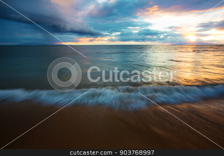 Beach Water in Motion at Sunset stock photo, Beach water in motion at sunset in Maui by Scott Griessel