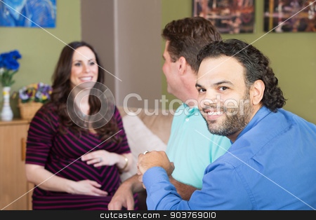 Gay Man with Partner and Pregnant Woman stock photo, Smiling gay man and partner with surrogate mother by Scott Griessel
