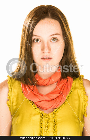 Neutral Expression stock photo, Pretty girl with a neutral expression on white background by Scott Griessel
