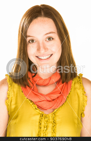 Happy Expression stock photo, Pretty girl with a happy expression on white background by Scott Griessel