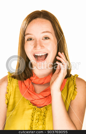 Laughing Expression stock photo, Pretty laughing girl on a white background by Scott Griessel