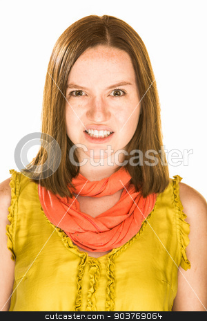 Very Angry Expression stock photo, Pretty girl with a very angry expression on white background by Scott Griessel