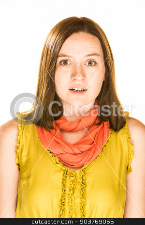 Apprehensive Expression stock photo, Pretty girl with an apprehensive expression on white background by Scott Griessel