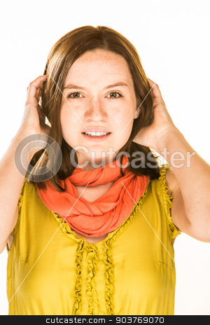 Stressed Expression stock photo, Pretty girl with a stressed expression on white background by Scott Griessel