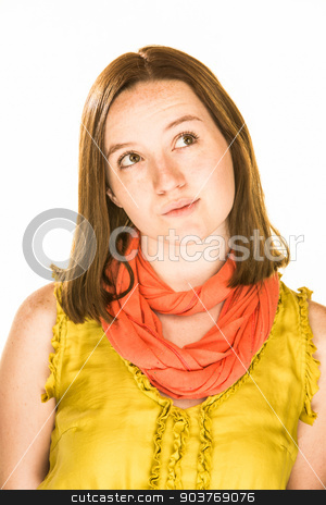 Contemplative Expression stock photo, Pretty girl with a contemplative expression on white background by Scott Griessel