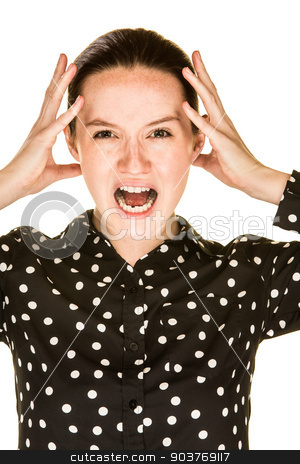 Stressed Out Girl stock photo, Attractive young caucasian women is stressed out by Scott Griessel