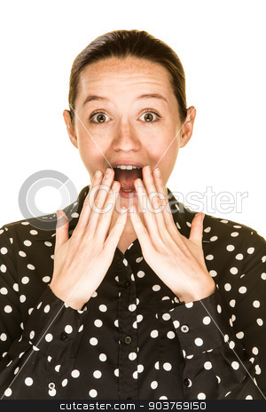 Surprised Caucasian Woman stock photo, Surprised looking caucasian women on white background by Scott Griessel