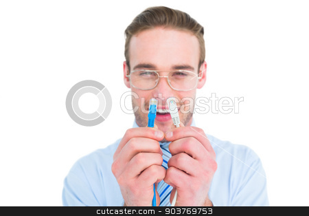 Geeky businessman holding two cables stock photo, Geeky businessman holding two cables on white background by Wavebreak Media