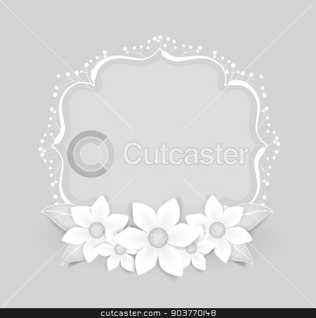 Floral Frame stock vector clipart, Floral frame with white flowers with place for text by Miroslava Hlavacova