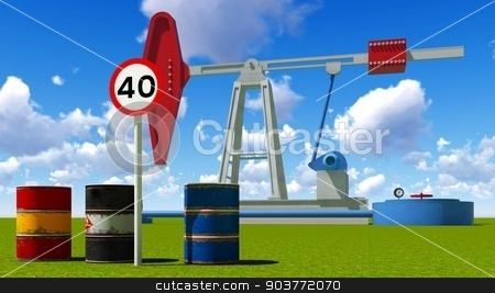 Forty dollars a barrel stock photo, Oil price limit at 40 dollars a barrel by Dariusz Miszkiel