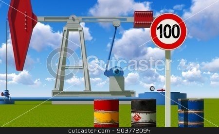One hundred dollars a barrel stock photo, Oil price limit at 100 dollars a barrel by Dariusz Miszkiel