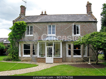 Country House stock photo, An exterior of a country house in the UK by Lucy Clark