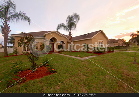 Front Exterior stock photo, A Front Exterior of a Home in Florida by Lucy Clark