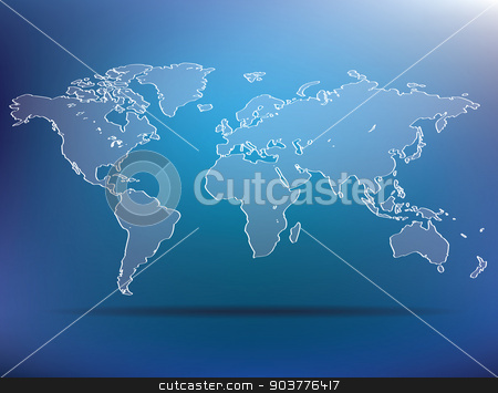 blue world map stock vector clipart, blue world map - vector illustration by ojal_2