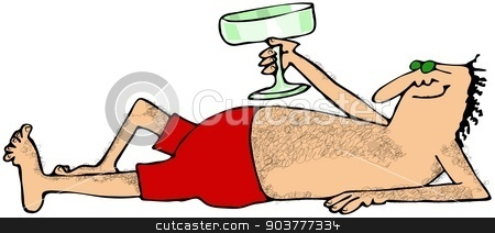 Hairy man on the beach stock photo, This illustration depicts a hairy man in a swim suit raising his Margarita glass. by Dennis Cox