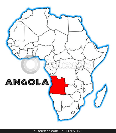 Angola stock vector clipart, Angola outline inset into a map of Africa over a white background by Kotto