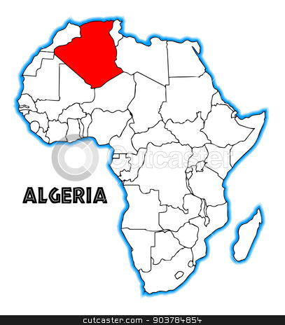 Algeria stock vector clipart, Algeria outline inset into a map of Africa over a white background by Kotto