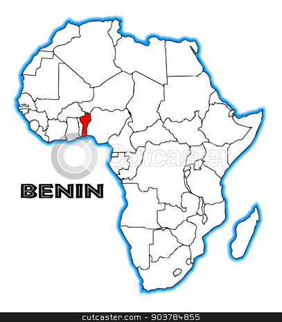 Benin stock vector clipart, Benin outline inset into a map of Africa over a white background by Kotto