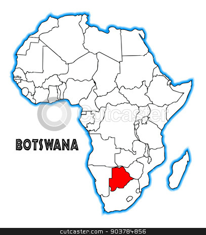 Botswana stock vector clipart, Botswana outline inset into a map of Africa over a white background by Kotto