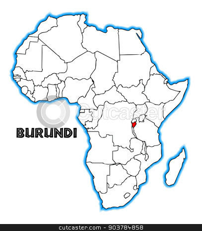 Burundi stock vector clipart, Burundi outline inset into a map of Africa over a white background by Kotto