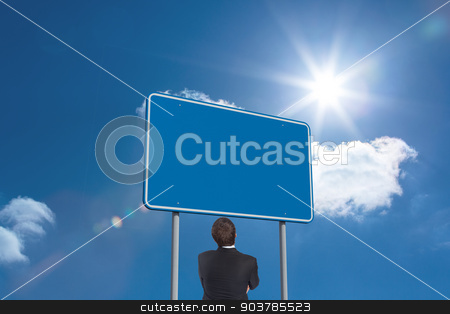 Composite image of thinking businessman stock photo, Thinking businessman against sky  by Wavebreak Media