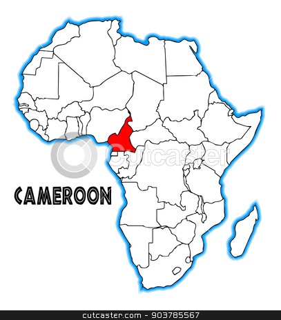 Cameroon stock vector clipart, Cameroon outline inset into a map of Africa over a white background by Kotto