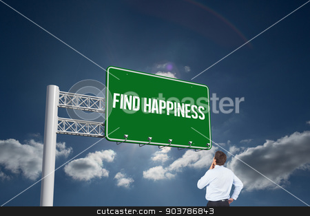 Find happiness against sky  stock photo, The word find happiness and thinking businessman touching his chin against sky  by Wavebreak Media