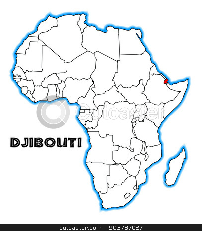 Djibouti stock vector clipart, Djibouti outline inset into a map of Africa over a white background by Kotto