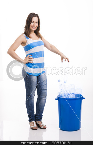 Beautiful young woman recycling stock photo, Beautiful young woman doing recycling, isolated over white background by ikostudio