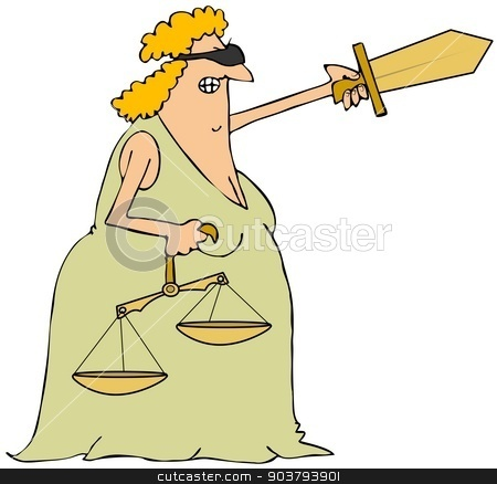 Lady Justice stock photo, This illustration depicts a blindfolded woman holding a sword and scales of justice. by Dennis Cox