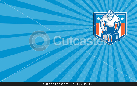 Business card American Cyclist Riding Bicycle Cycling Shield Retro stock photo, Business card showing illustration of an american cyclist riding racing bicycle cycling facing front set inside shield crest with usa stars and stripes flag in the background done in retro style.  by patrimonio