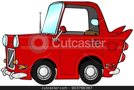 Cute red car stock photo, This illustration depicts a cute, cartoon car. by Dennis Cox