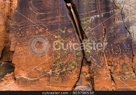 Beaver Creek Style Petrogylphs stock photo, North American petroglyphs on rock in the Beaver Creek Style by Scott Griessel