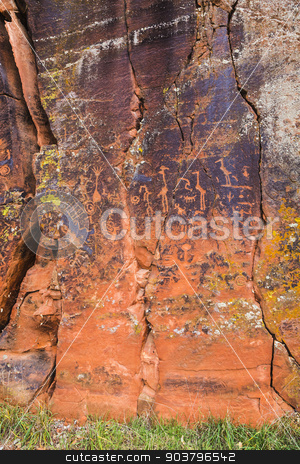 Rock Panel with North American Petroglyphs stock photo, Large rock panel with many symbolic petroglyphs by Scott Griessel