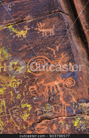 Close Up Petroglyph Panel stock photo, Close up of North American petroglyph panel etched on stone by Scott Griessel