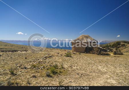 Old hut in Bolivia stock photo, Scenic old hut on Isla del Sol, island on lake Titicaca in Bolivia by Michal Knitl