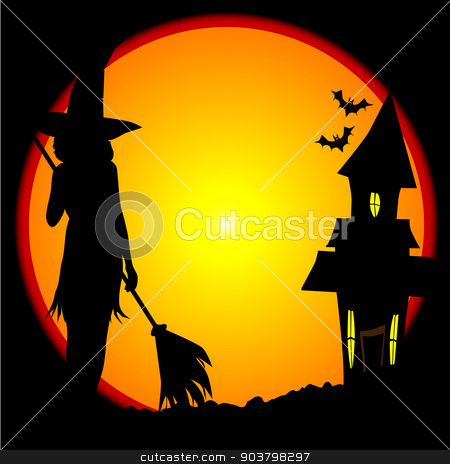 Witches House stock vector clipart, Eerie halloween scene with moon and witches house by Kotto