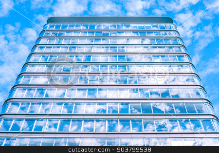 Building with sky reflection stock photo, Skyscraper with many windows by Kasper Nymann